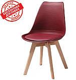 Пластиковий стілець P-01 бургунді на букових ніжках Vetro Mebel (безкоштовна доставка), фото 3