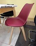 Пластиковий стілець P-01 бургунді на букових ніжках Vetro Mebel (безкоштовна доставка), фото 2