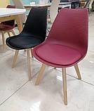 Пластиковий стілець P-01 бургунді на букових ніжках Vetro Mebel (безкоштовна доставка), фото 4