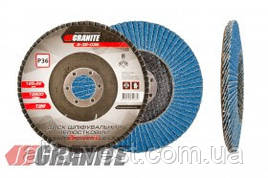 GRANITE  Диск шлифовальный лепестковый конусный ZIRCONIA зерно 120 125*22 мм, Арт.: 8-32-120