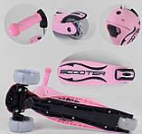 Самокат беговел з сидінням рожевий Best Scooter 2в1, фото 7