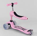 Самокат беговел з сидінням рожевий Best Scooter 2в1, фото 6