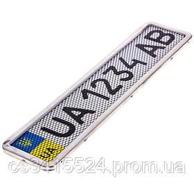 Рамка номерного знака НЕРЖАВЕЙКА ХРОМ (с сеткой)