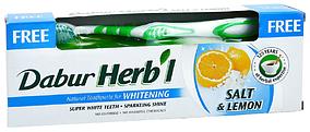 """Зубна паста Dabur Herb'l """"Відбілююча. Сіль і лимон"""" (150г.) + зубна щітка"""
