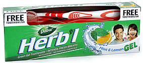 """Зубна паста Dabur Herb'l """"Свіжий гель. М'ята і лимон"""" (150г.) + зубна щітка"""