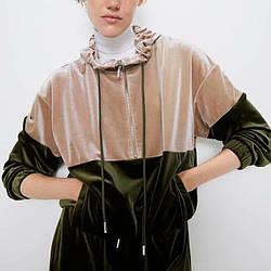 Худи женское из контрастного бархата Fusion Berni Fashion (S)
