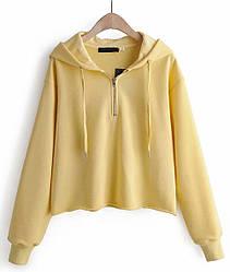 Худи женский укороченный Sun, желтый Berni Fashion (S)