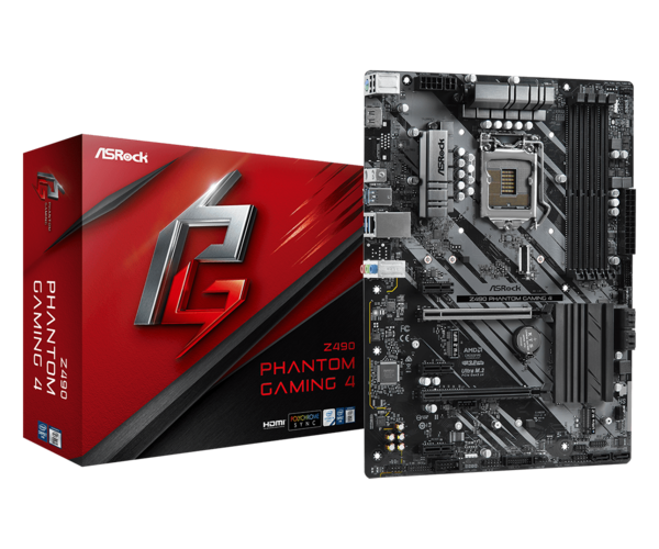 Мат.плата s1200 Z490 ASRock Z490 Phantom Gaming 4 (ATX 4xDDR4 4400 HDMI 1xM.2) (Z490 Phantom Gaming 4)