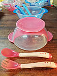 Набор детской посуды 3 предмета, тарелочка на присоске, силикон., фото 4