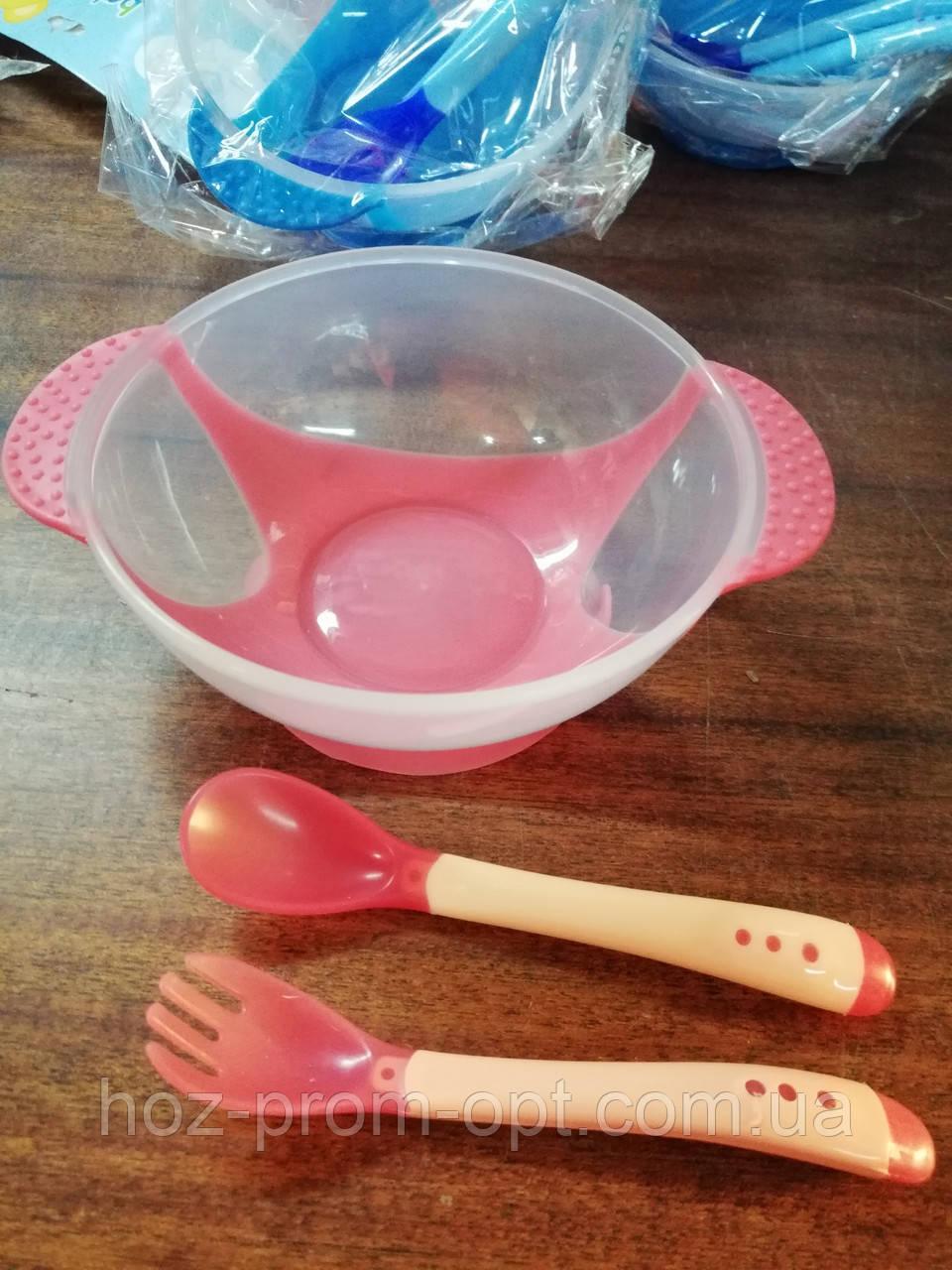Набор детской посуды 3 предмета, тарелочка на присоске, силикон.
