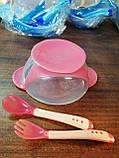 Набор детской посуды 3 предмета, тарелочка на присоске, силикон., фото 3