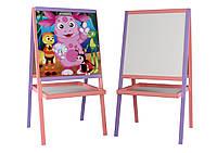 """*Дитячий дерев'яний двосторонній мольберт з картинкою """"Лунтік"""" і поличкою, висота 100 см арт. 051"""