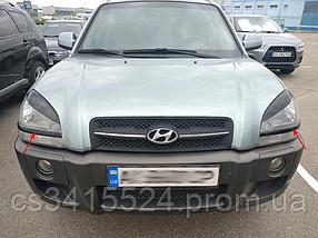 Реснички на фары Hyundai Tucson 2004-2010 Нижние (под покраску)