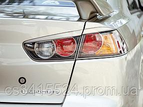 Реснички на фары Mitsubishi Lancer 10 Задние (под покраску)