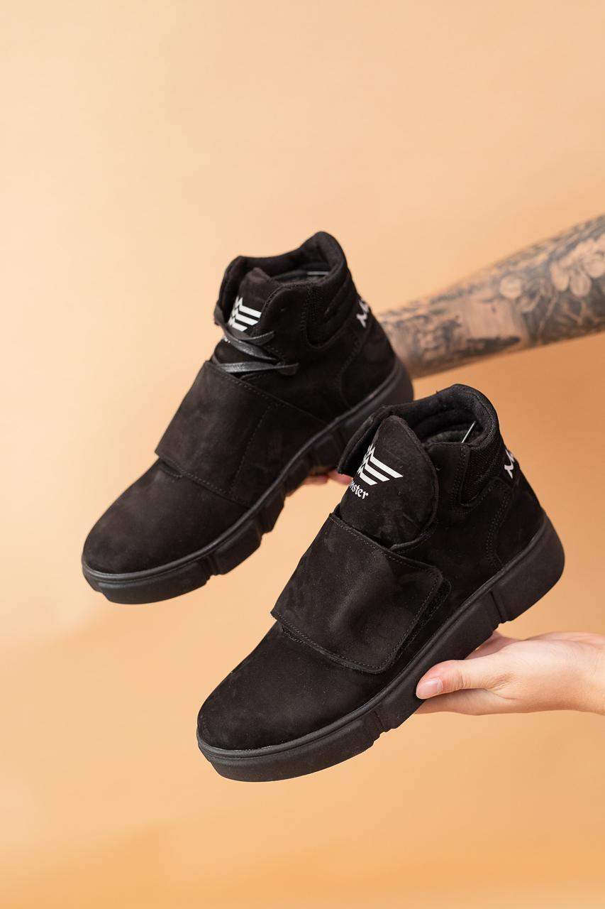 Женские ботинки кожаные зимние черные-нубук Monster A