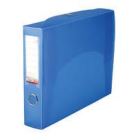 Папка-коробка сборная 55 мм, прозрачная синяя