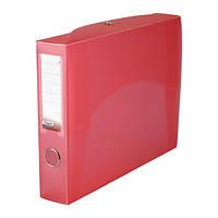 Папка-коробка сборная 55 мм, прозрачная красная