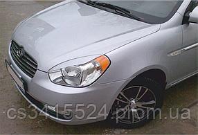 Реснички на фары Hyundai Accent 2006-2010 (под покраску)