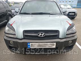 Реснички на фары Hyundai Tucson 2004-2010 Верхние (под покраску)