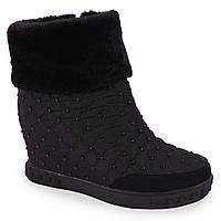 Удобные ботинки Prima Dart (с мехом, камешки, удобная подошва, стильные, теплые, черные, болоновые)