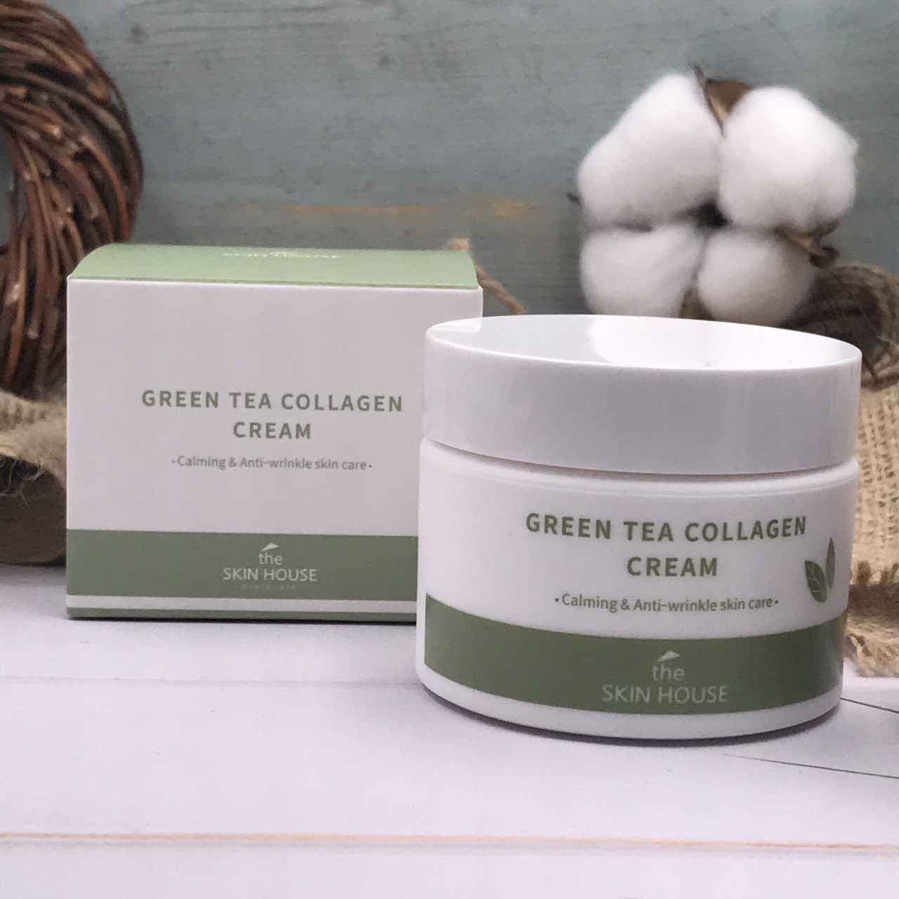 Успокаивающий крем The Skin House против морщин с зеленым чаем и коллагеном Green Tea Collagen Cream