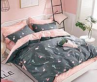 Комплект полуторного хлопкового постельного белья Бязь Голд с фламинго