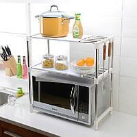 Настольный кухонный стеллаж под микроволновку с полками для посуды и специй+крючки, этажерка для мик