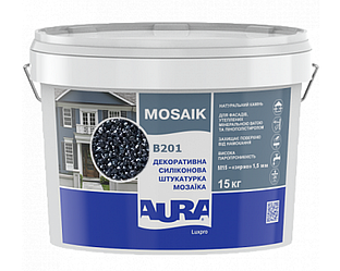 Штукатурка кварцевая AURA LUX PRO MOZAIK M15 мозаичная (зерно 1,5 мм) B201 15кг