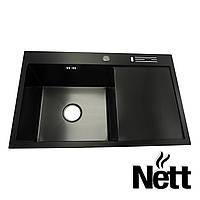 Мойка для кухни с крылом нержавейка Nett | кухонная мойка | черная раковина накладная PVD | мийка на кухню
