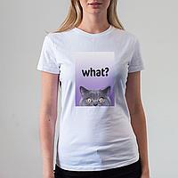 Женская белая футболка с котом
