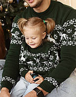 Мужской вязаный рождественский свитер Гольф/Джемпер (Зеленый)