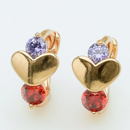 XUPING Серьги Позолота 18к сердечки с фиолетовыми и красными цирконами, Высота 0.9см, Ширина 0.6см