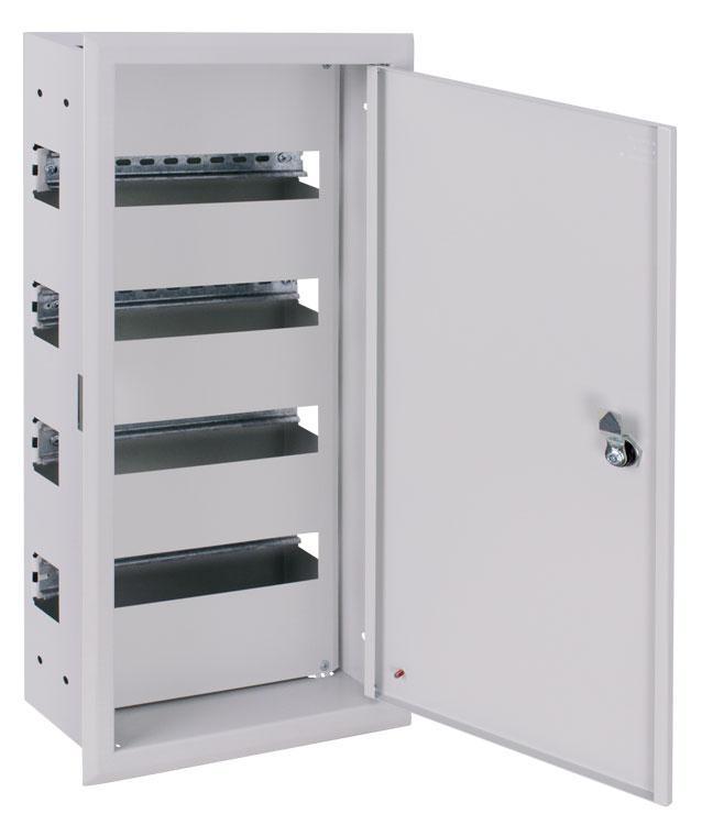 Корпус металевий e.mbox.pro.w.48z IP31 вбудований на 48 модулів з замком