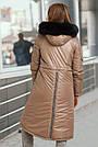 Куртка женская зимняя с капюшоном с мехом кофейного цвета, фото 5