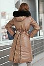Куртка женская зимняя с капюшоном с мехом кофейного цвета, фото 6