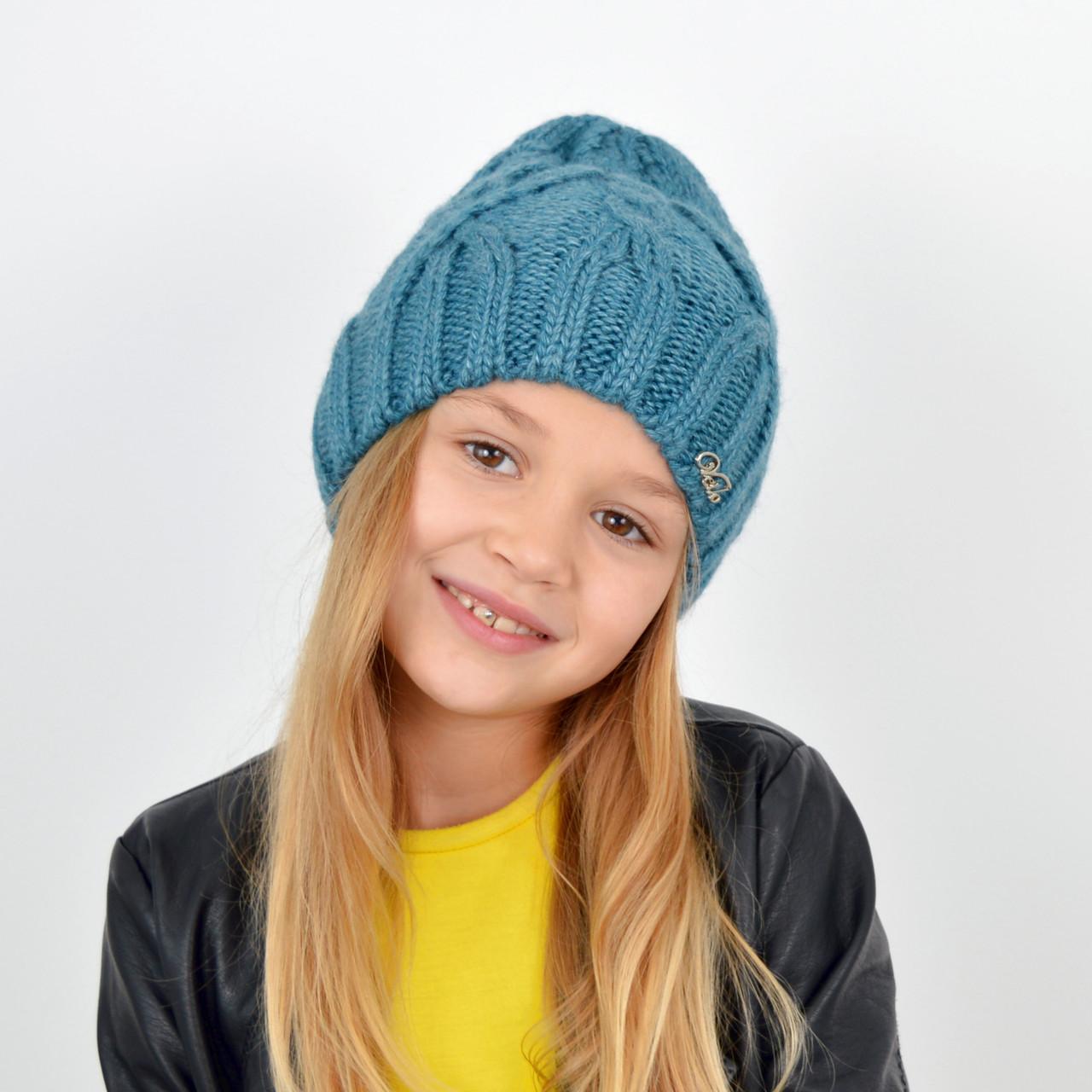 Детская вязаная шапка 3360 Голубой