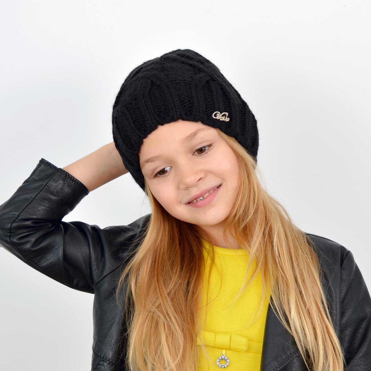 Детская вязаная шапка 3360 Черный