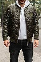 Мужская зимняя куртка.Бомбер мужской зимний.Куртка теплая хаки