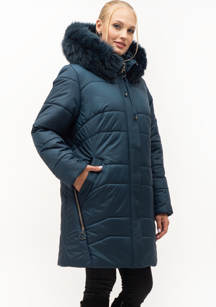 Женский модный пуховик большие размеры Украина