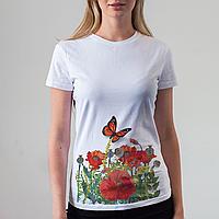 Женская белая футболка с бабочкой и маками