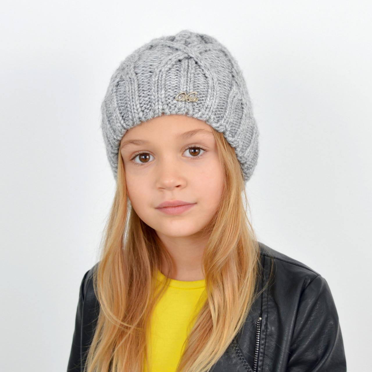 Детская вязаная шапка 3360 Светлый серый