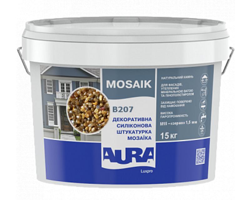 Штукатурка кварцова AURA LUX PRO MOZAIK M15 мозаїчна (зерно 1,5 мм) B207 15кг