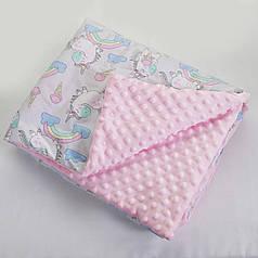 Плед плюш для новорожденного теплый 80х100 розовый