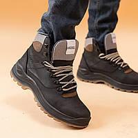 Ботинки мужские высокие зимние на шнурках, кожаные сапоги, стильные черные