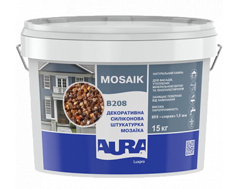 Штукатурка кварцова AURA LUX PRO MOZAIK M15 мозаїчна (зерно 1,5 мм) B208 15кг