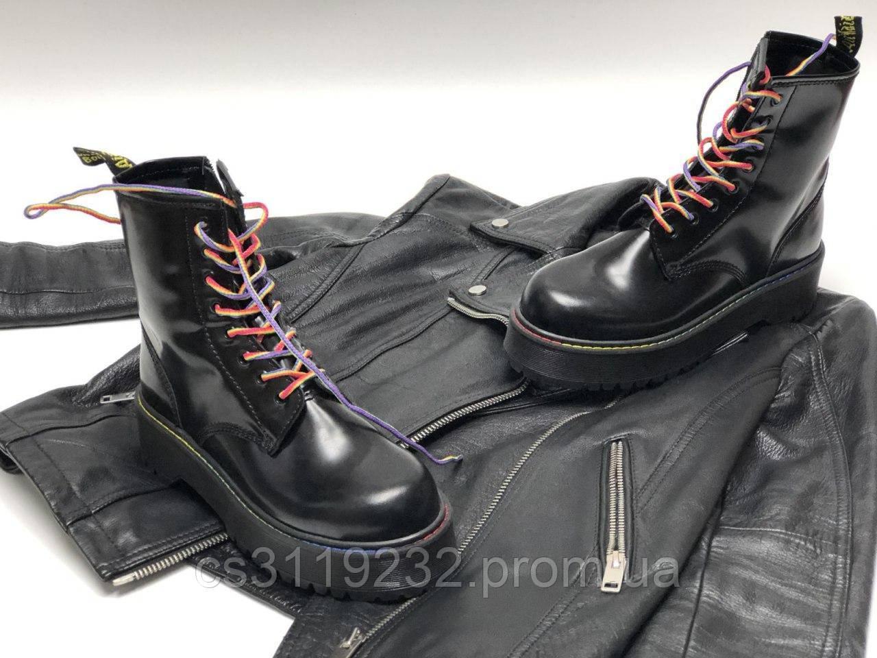 Женские ботинки Dr.Martens JADON Rainbow демисезонные (черный)