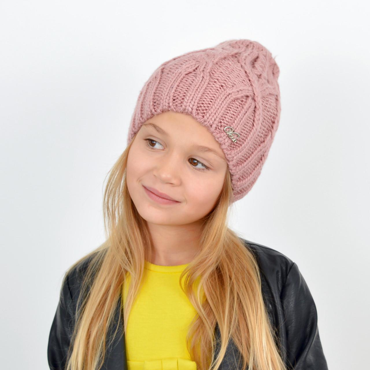 Детская вязаная шапка 3360 Пыльная роза