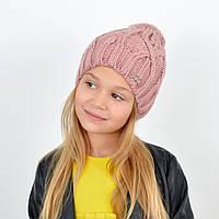 Детская вязаная шапка 3360 Пыльная роза, фото 1