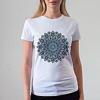 Женская белая футболка с принтом мандала, фото 1