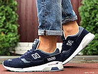 Мужские кожаные кроссовки New Balance 1500 тёмно синие на белой подошве, фото 1